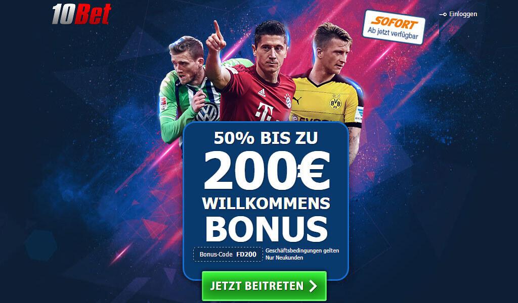 10Bet Bonus – 200€ Wettbonus sichern
