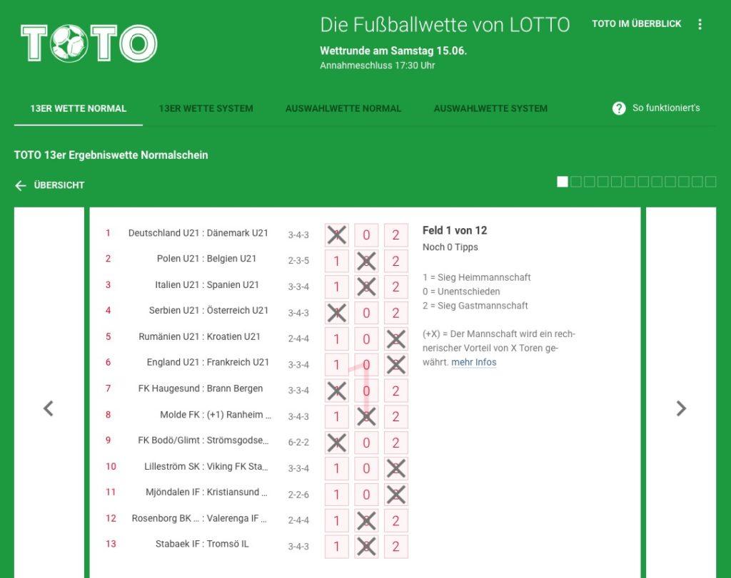 Fussballtoto – 13er Ergebniswette