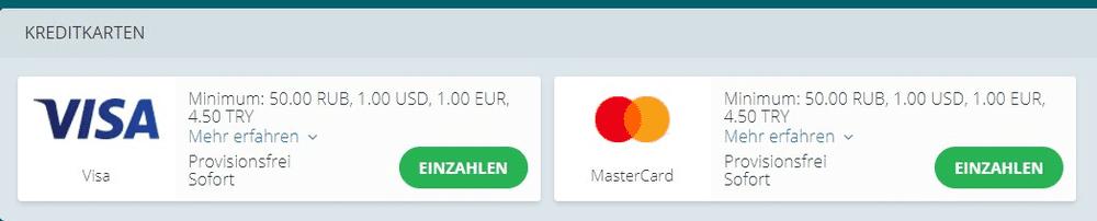 22Bet Kreditkarten Zahlungsmittel