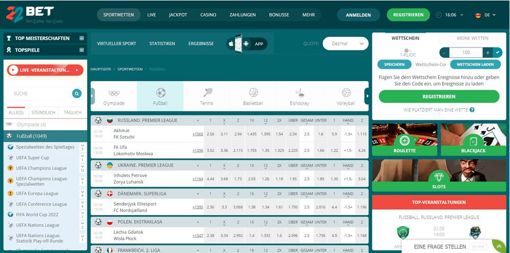 22Bet Sportwetten Website