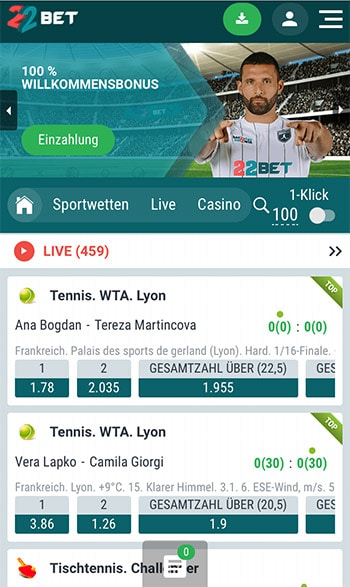 22Bet - Mobile Webseite
