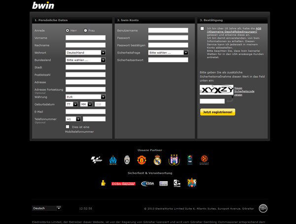 bwin Anmeldung – Registrierung, so geht es + 50 € Bonus