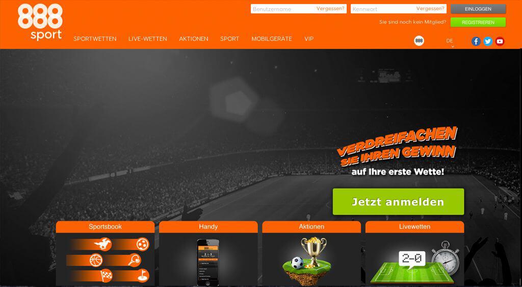 Registrierung auf der Startseite des Wettanbieters 888sport (Quelle: 888sport)