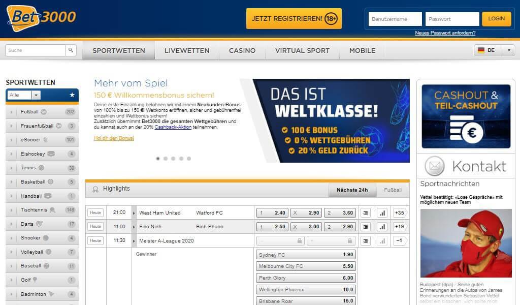 Bet3000 Sportwetten Erfahrungen – Test & Bewertung 2021