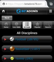 BetAdonis mobile App für iPhone, iPad und Android