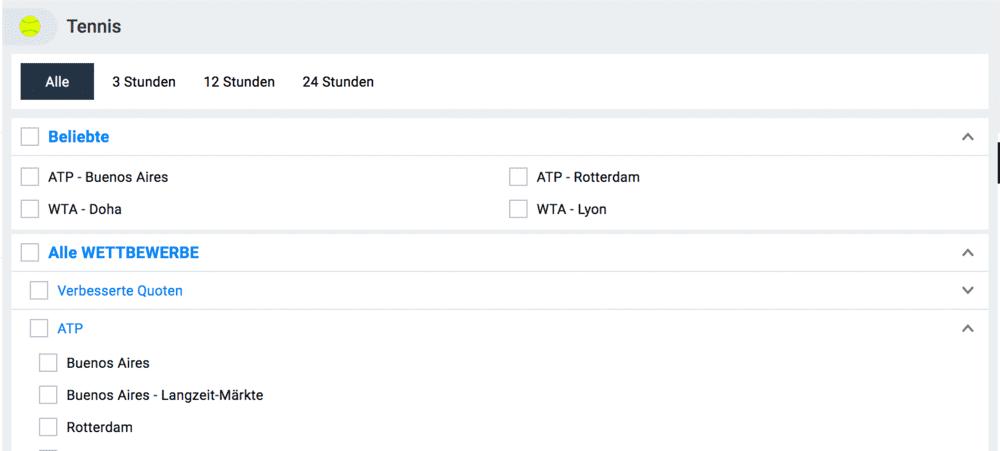 Betano Homepage Tennis-Turnier Angebot - Wetten auf Ligen