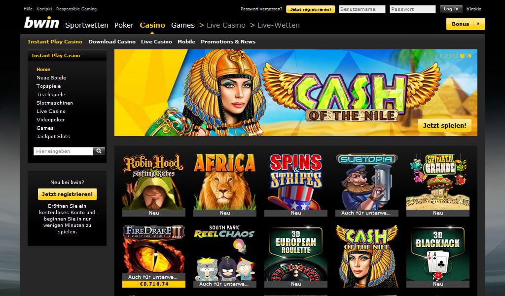 Bwin-Casino-Startseite