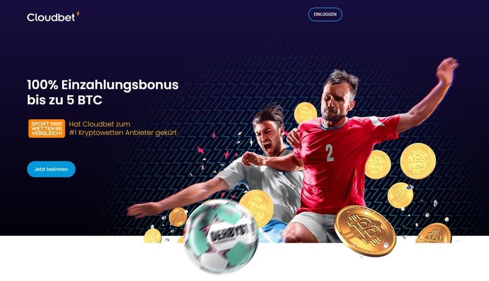 Startseite samt Bonus Angebot des Bitcoin-Buchmachers Cloudbet