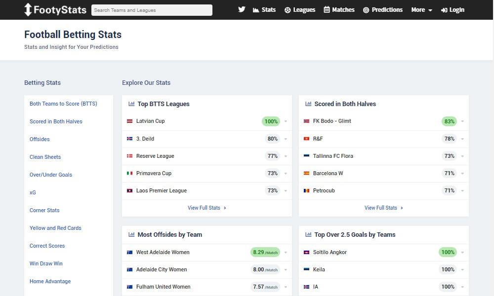 Footystats - Statistikbereich – beste Fußball-Analyse-Seite