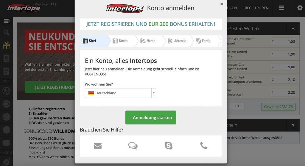 Registrierung bei Intertops