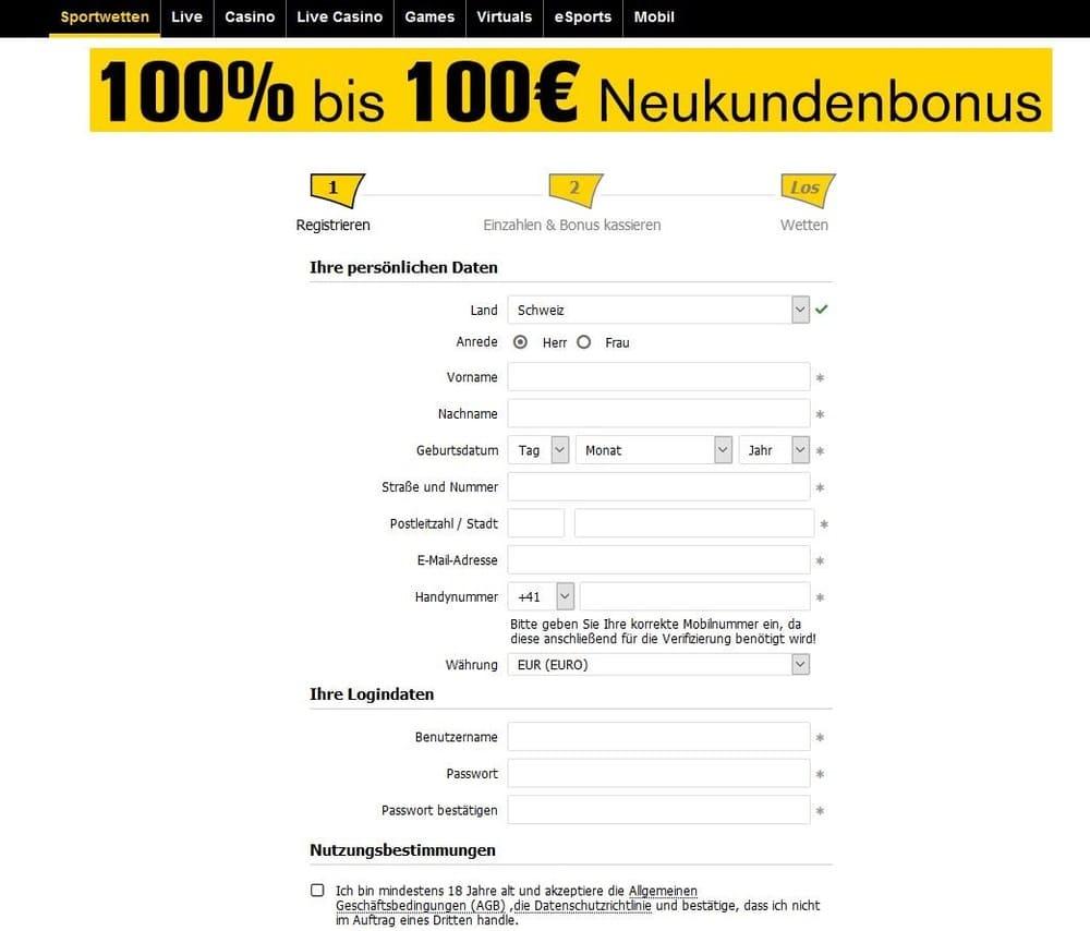 Kostenlose Registrierung - Interwetten Schweiz