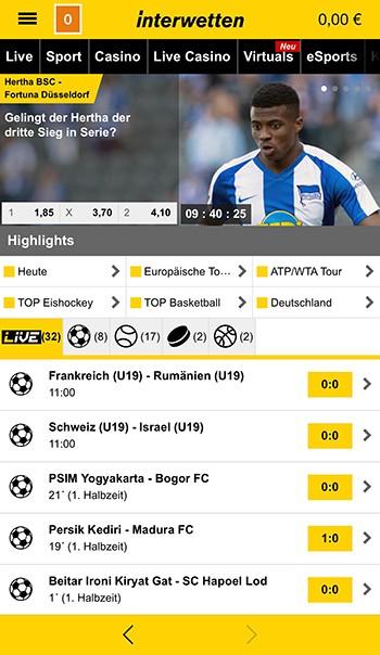 Interwetten - Sportwetten-App