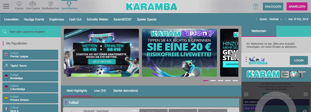 Karamba Sports Sportwetten Erfahrungen – Test & Bewertung 2021