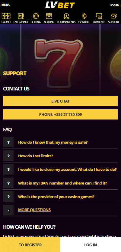 LVbet Mobile SS Support