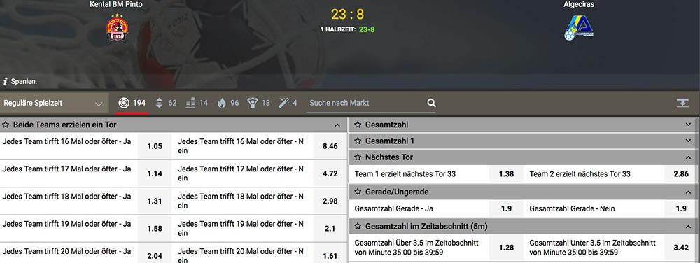 Live-Wetten Angebot Megapari - Handball WM Wetten