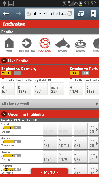 Ladbrokes mobile App für iPhone, iPad und Android + Download