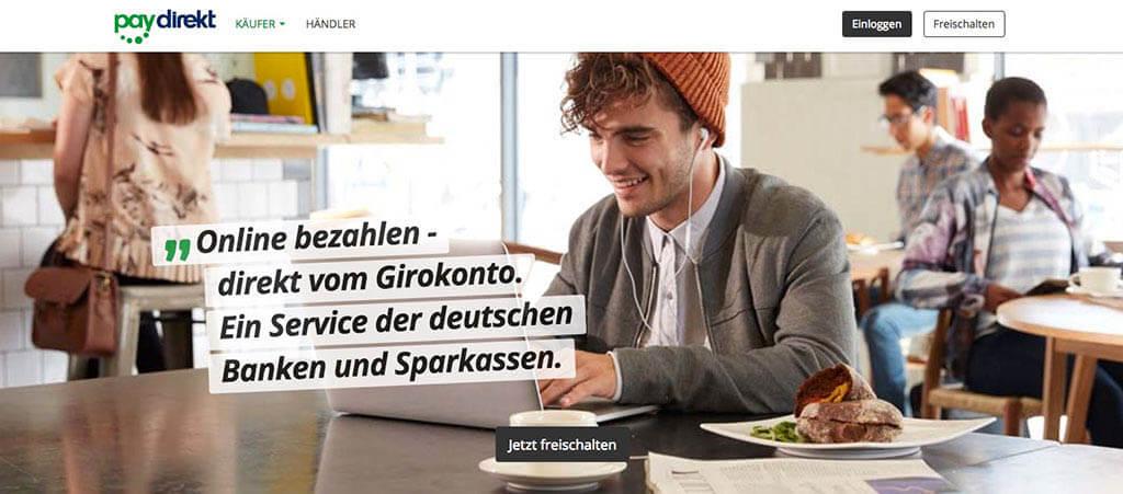 Screenshot von der Website von Paydiret