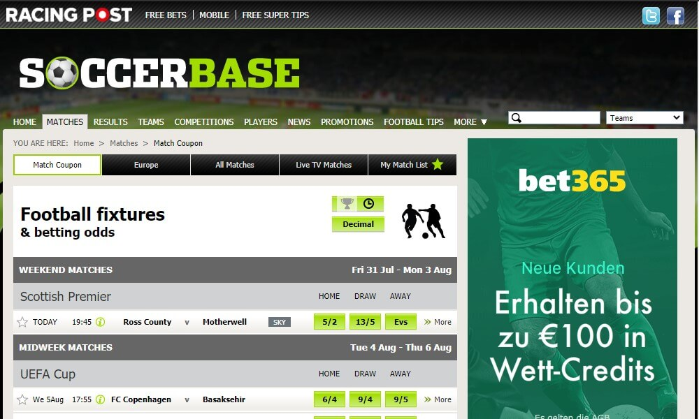 Soccerbase - Statistikbereich