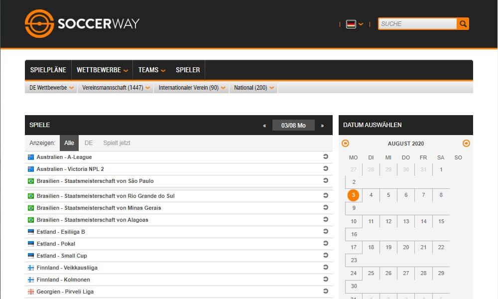 Soccerway - Statistikbereich