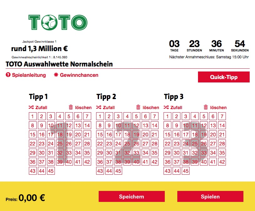 Fussballtoto – Toto-Schein Lotto