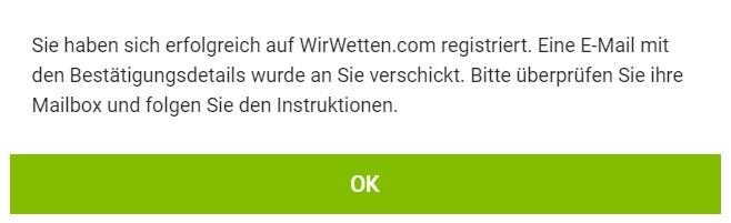 Wirwetten.com - Konto bestätigen