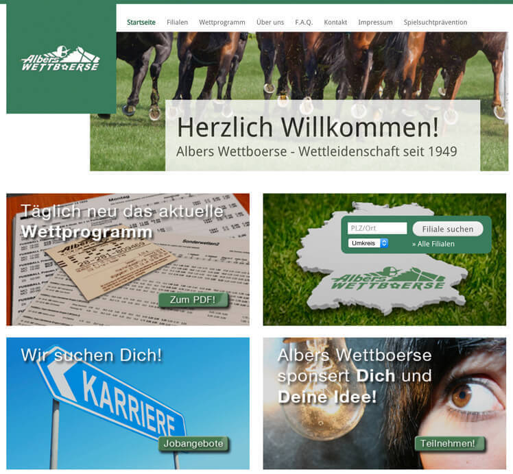 Albers Wettbüro Webseite (Quelle: Albers Wettbüro)
