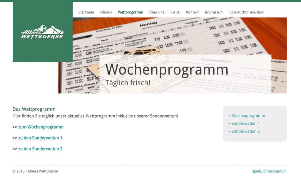 Das aktuelle Wettprogramm findet man als PDF auf der Webseite (Quelle: Albers Wettboerse)
