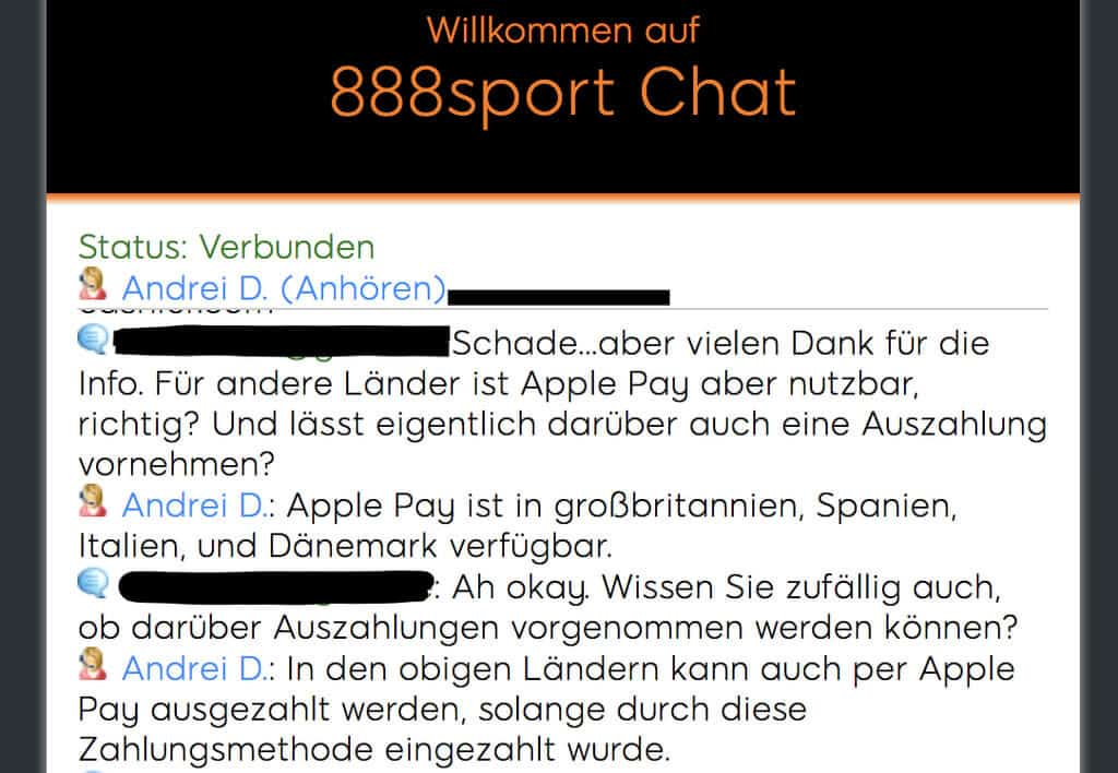 Apple Pay 888sport Chat
