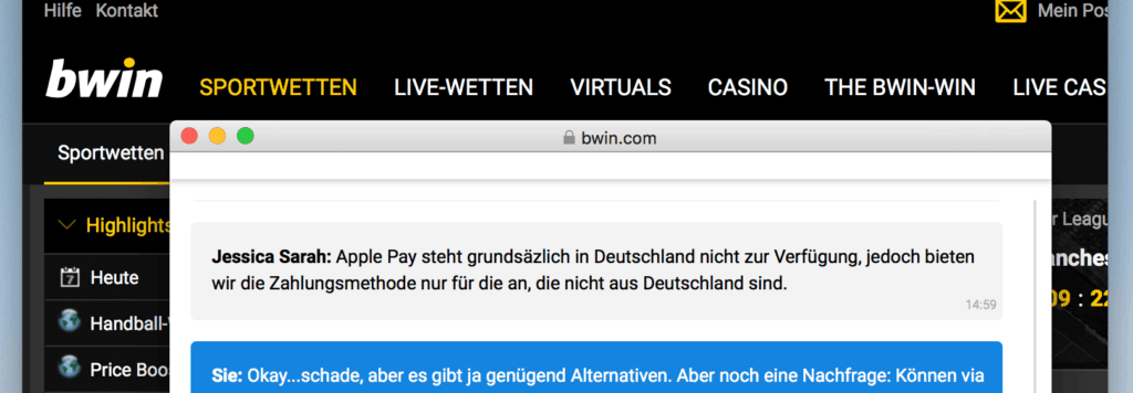 Apple Pay bwin Chat