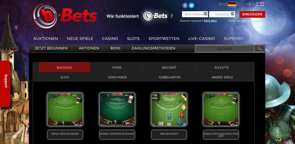 Casino Oberfläche bei b-Bets (Quelle: b-Bets)