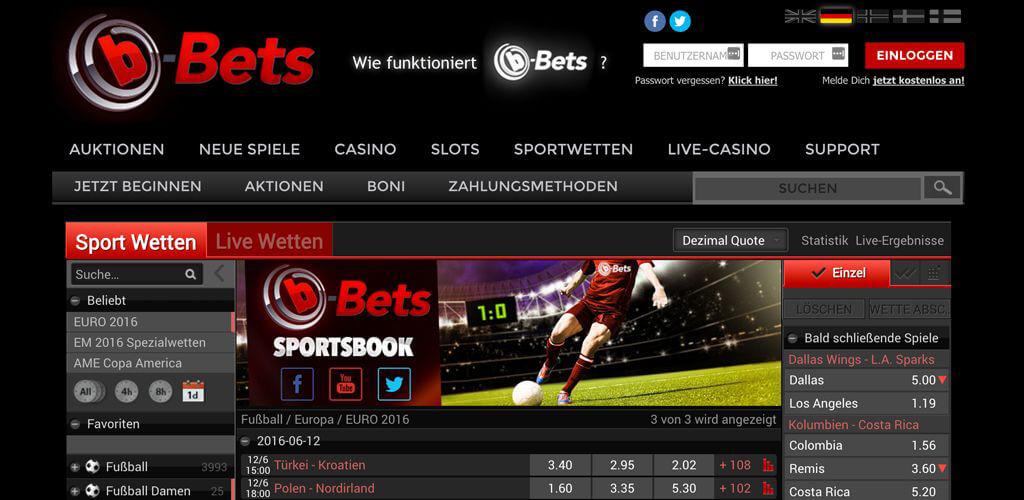 Webseite von b-Bets mit der Anmeldeoption oben (Quelle: b-Bets)