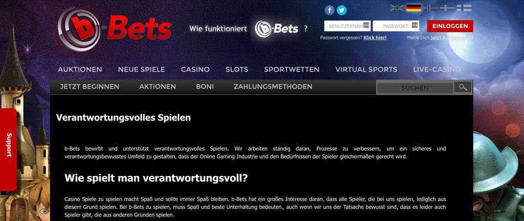 """Auszug """"Verantwortungsvolles Spielen"""" auf der Webseite von b-Bets (Quelle: b-Bets)"""