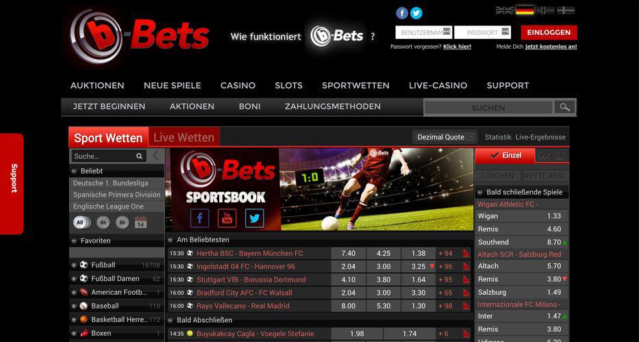 Webseite mit der Sportwetten-Übersicht des Wettanbieters b-Bets (Quelle: b-Bets)