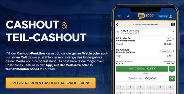 Sportwetten hohe Einsätze – Cashout und Teil-Cashout bei Bet3000