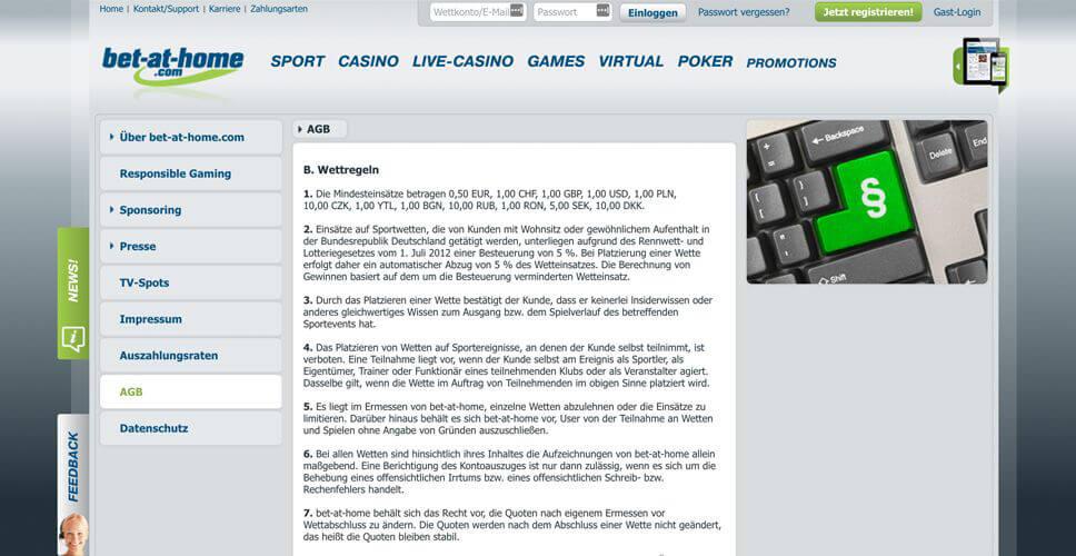 In den AGB´s von bet-at-home.com sind alle Informationen zu den Limits zu finden (Quelle: bet-at-home.com)