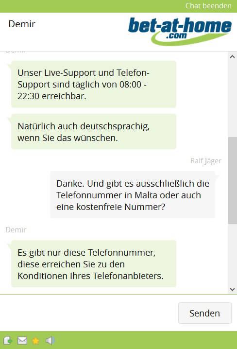 Auszug aus dem Live-Chat während unseres Support-Tests.