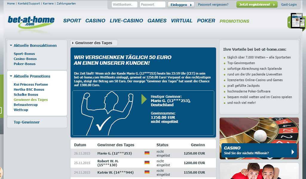 """50 Euro erhalten Bestandskunden bei bet-at-home.com als """"Gewinner des Tages"""" (Quelle: bet-at-home.com)"""