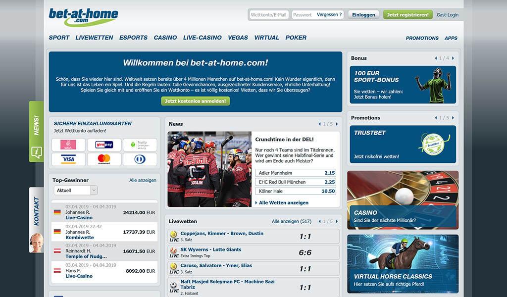 Die bet-at-home.com Webseitenoberfläche mit dem umfangreichen Wettangebot (Quelle: bet-at-home.com)