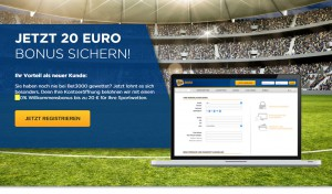 Bet3000 Bonus – 100 % bis 20 Euro Wettbonus für 2016