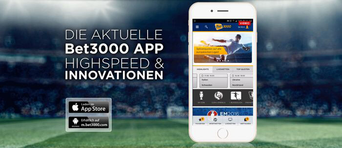 Bet3000 mobile App für iPhone, iPad und Android