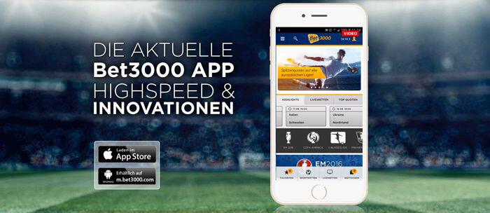 Mobile App beim wettanbieter bet3000 (Quelle bet3000)