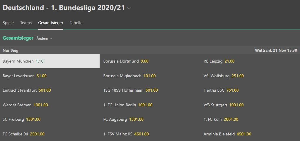 Favoritenquote Bayern München auf bet365