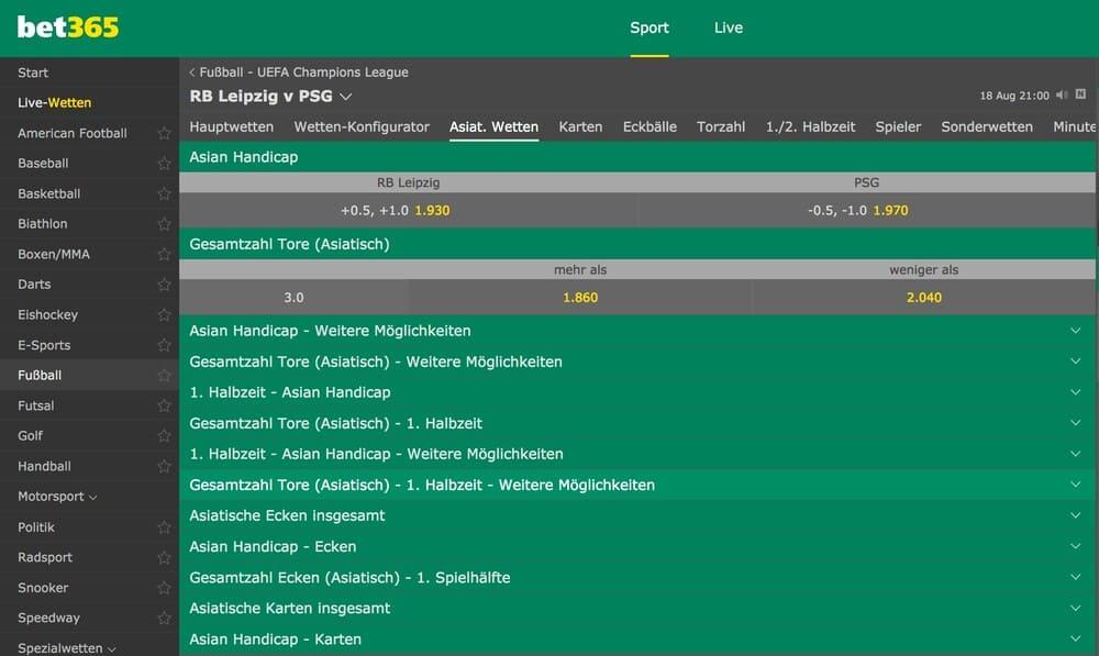 bet365 champions league wetten - asian handicap