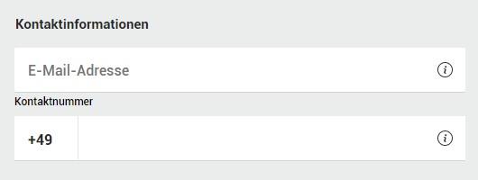 Kontaktinformationen bei der Registrierung (bet365)