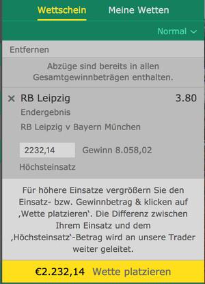 bet365 Limit bei Wettschein