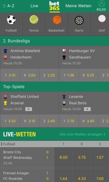bet365 - Sportwetten-App