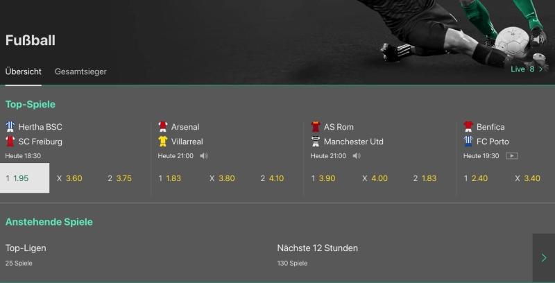 Pre-Match-Wetten bei bet365
