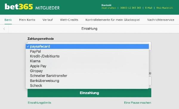 N26 Zahlung bei bet365 – Zahlungsmethode wählen