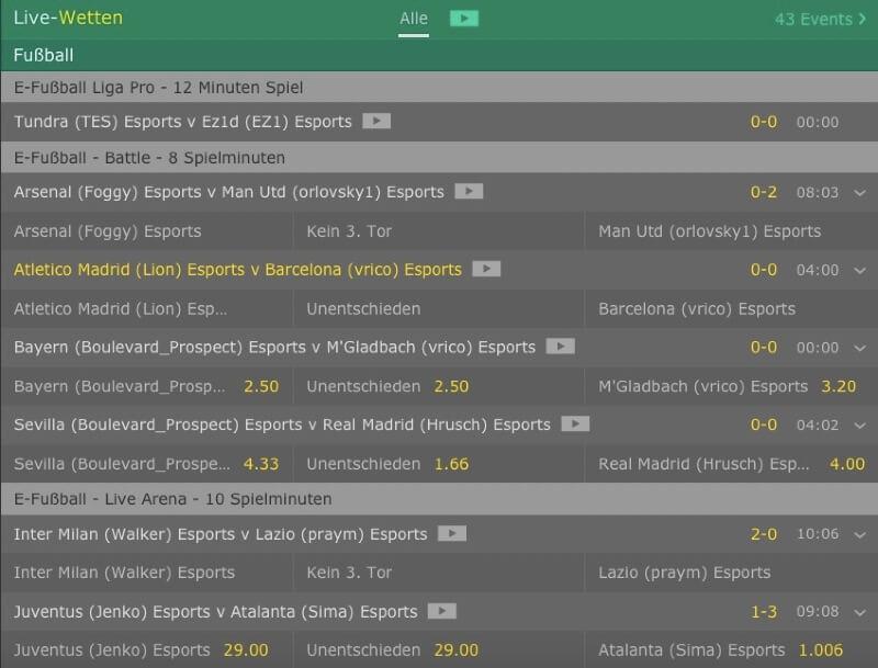 eSports Live-Wetten bei bet365