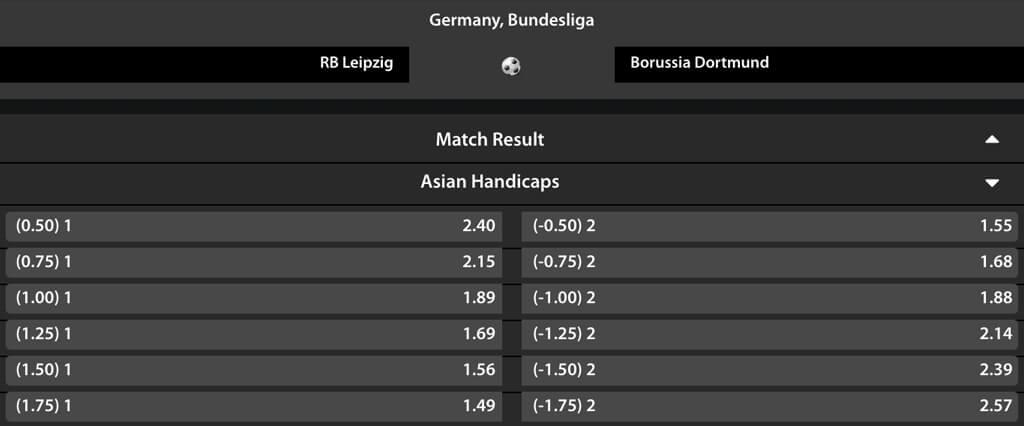 Asian Handicap Quoten einer 1. Bundesligabegegnung bei Betadonis (Quelle: Betadonis)